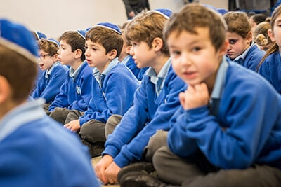 Pupils in an assembly at Sacks Morasha Jewish Primary School