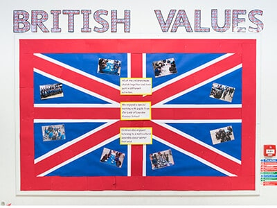 The title British Values above the UK flag