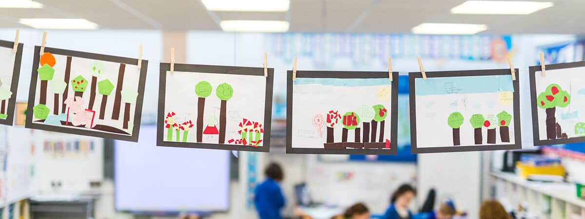 Pupils' pictures displayed in a school classroom