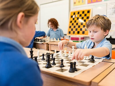 Pupils deep in concentration at Sacks Morasha Chess Club