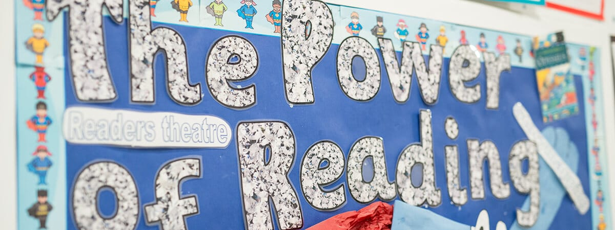 A classroom display about The Power of Reading
