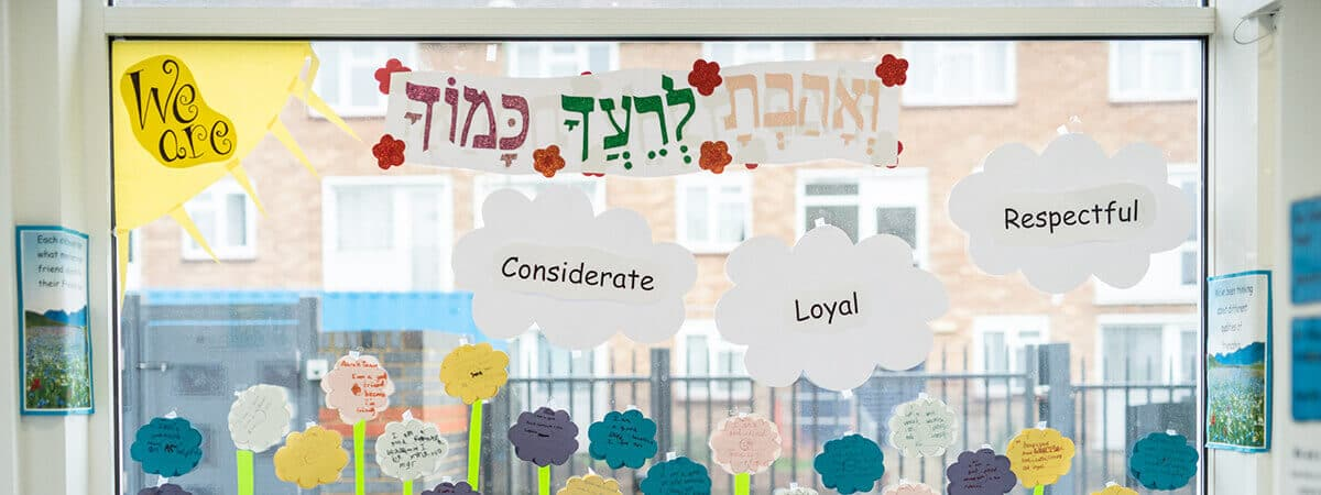 'We are Considerate, Loyal, Respectful' window decoration in Sacks Morasha Jewish Primary School