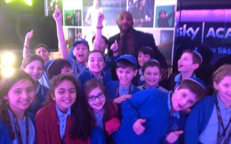 Year 6 Sacks Morasha pupils enjoying themselves on the Sky Studio tour