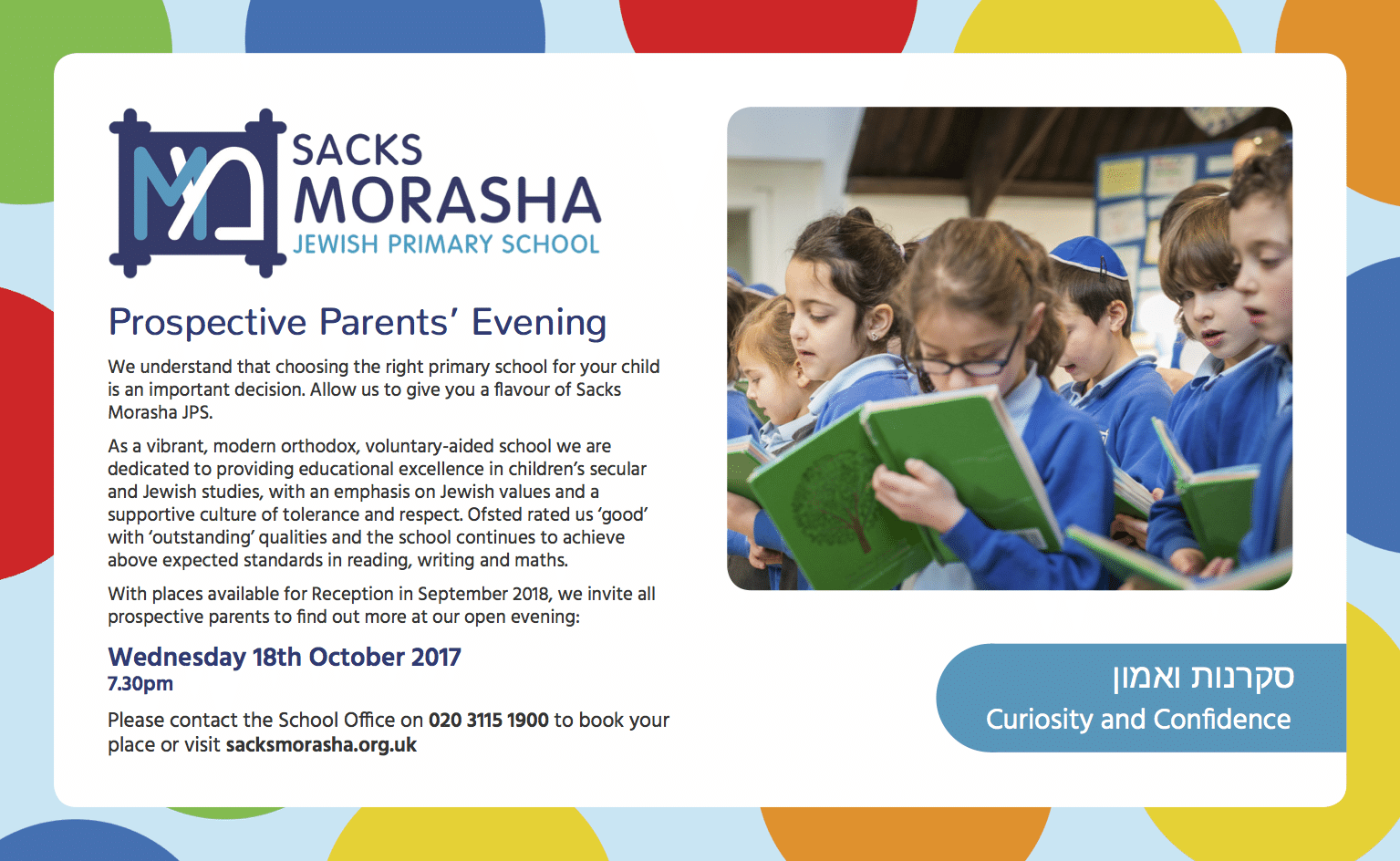 Sacks Morasha Jewish Primary School - Prospective Parents' Evening